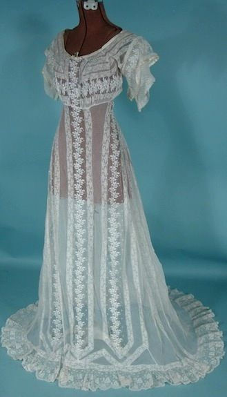 Antique Dress - Item for Sale. # 6630 - c. 1912 White Embroidered ...