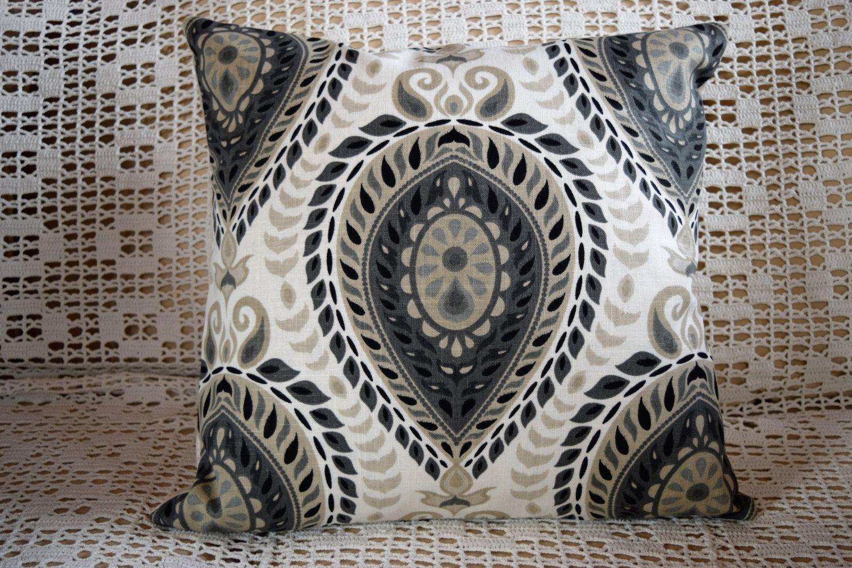 X pillow cover graphic ikat design cream taupe black zipper