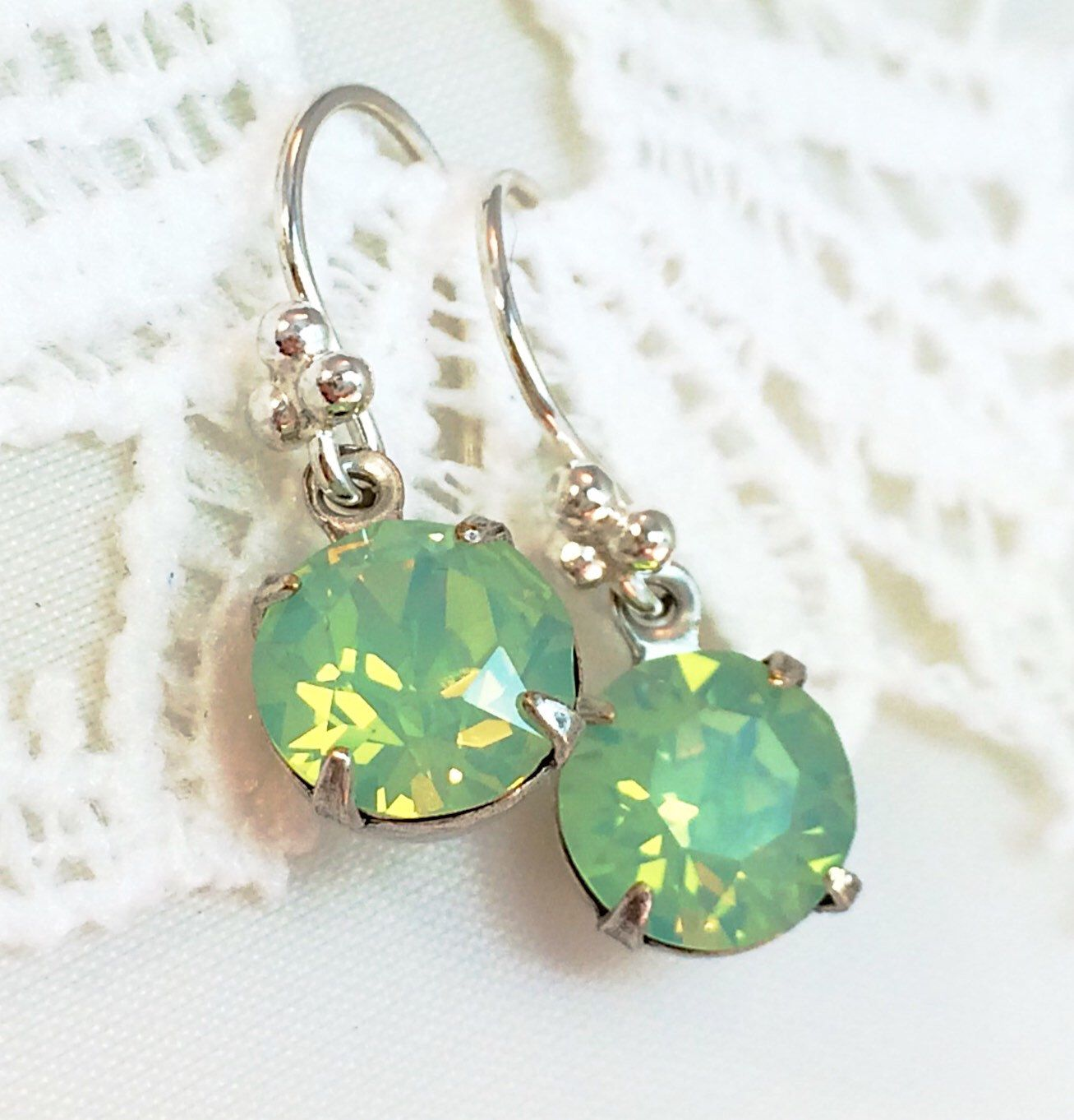 Chrysolite Chaton Crystal With Crystal From Swarovski, Chrysolite Earrings,  Swarovski Crystal Earrings