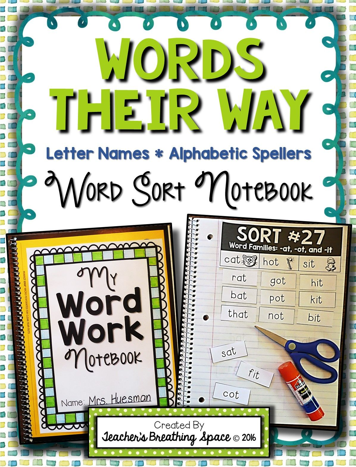 Words Their Way Letter Name Alphabetic Word Sorting Notebook