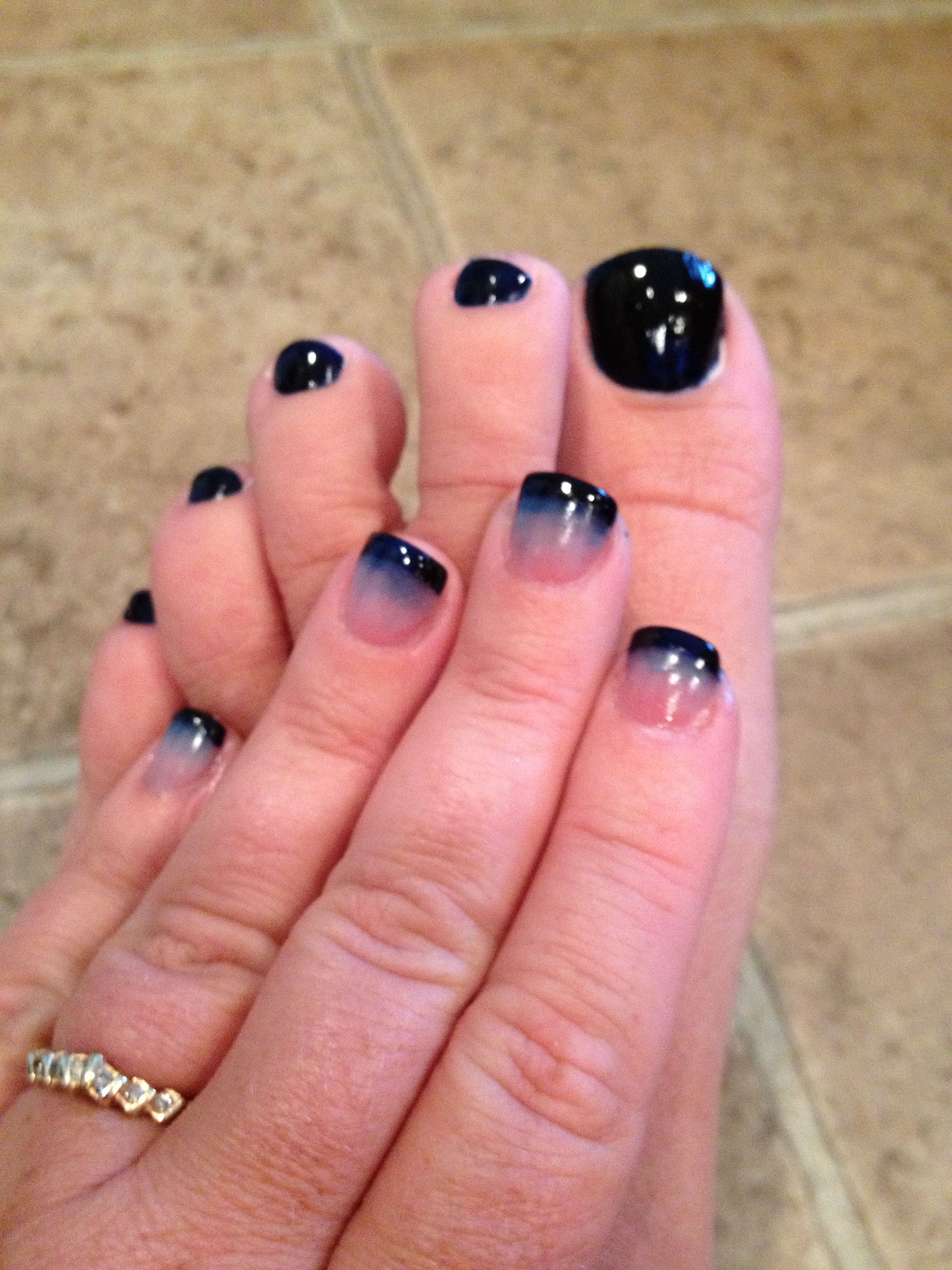 Navy toes & Navy ombré tips (smudging smile line with either clear ...