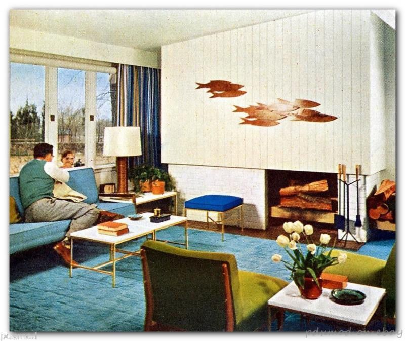 1956 Atomic Space Age Interior Decorating Mid Century Modern