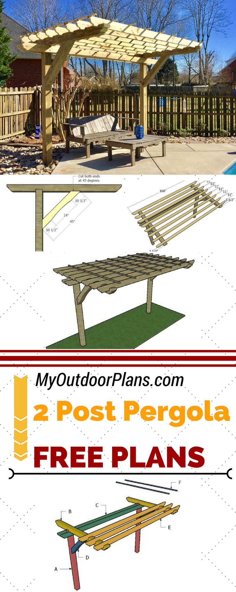 Learn How To Build A Cool 2 Post Pergola For Your Backyard Or Patio Follow My Step By Step Instructions And Plans For Pergola Pergola Plans Building A Pergola