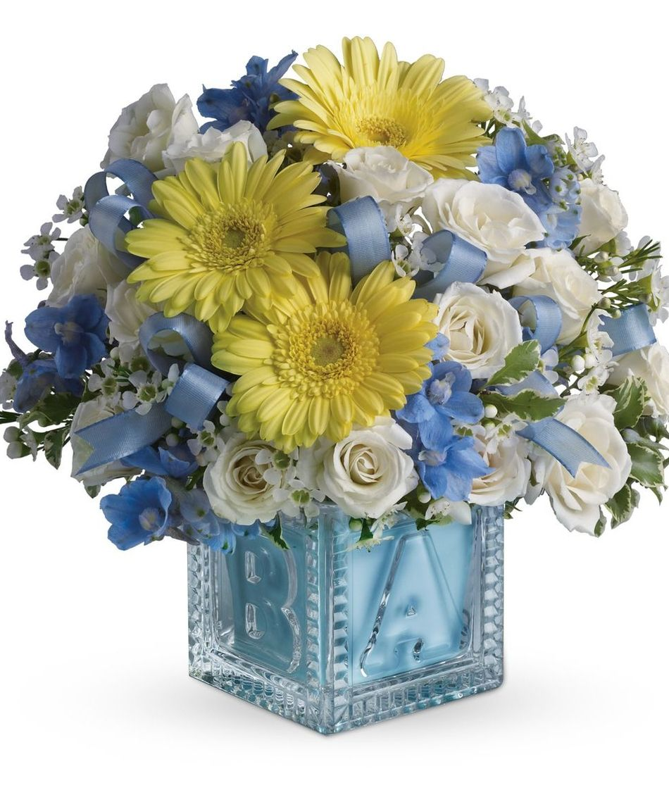 Baby boy gifts white roses white waxflowers blue