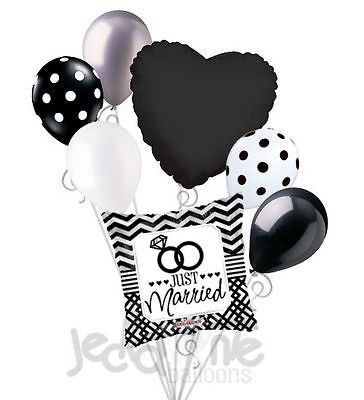 7 pc Just Married Chevron & Dots Balloon Bouquet Party Decoration Car Wedding