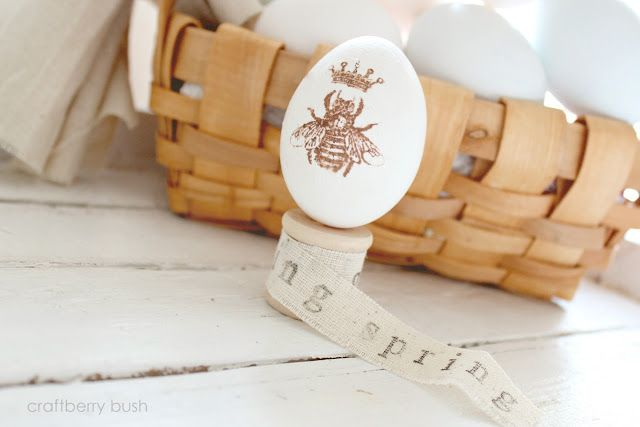 stamped images on eggs