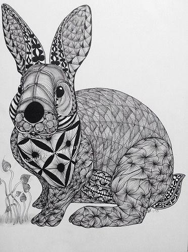 zentangle Rabbit Ben Kwok template