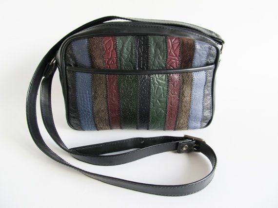 80s Vintage  Crossbody Bag  Black Faux Leather by funkyvintage780