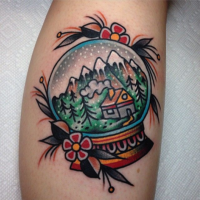 """""""Mittenwald, Germany in a snow globe. Super fun one tonight, thanks @goinsse for making the drive! """" Tattoo by Tony Talbert of Golden Monkey Tattoo"""