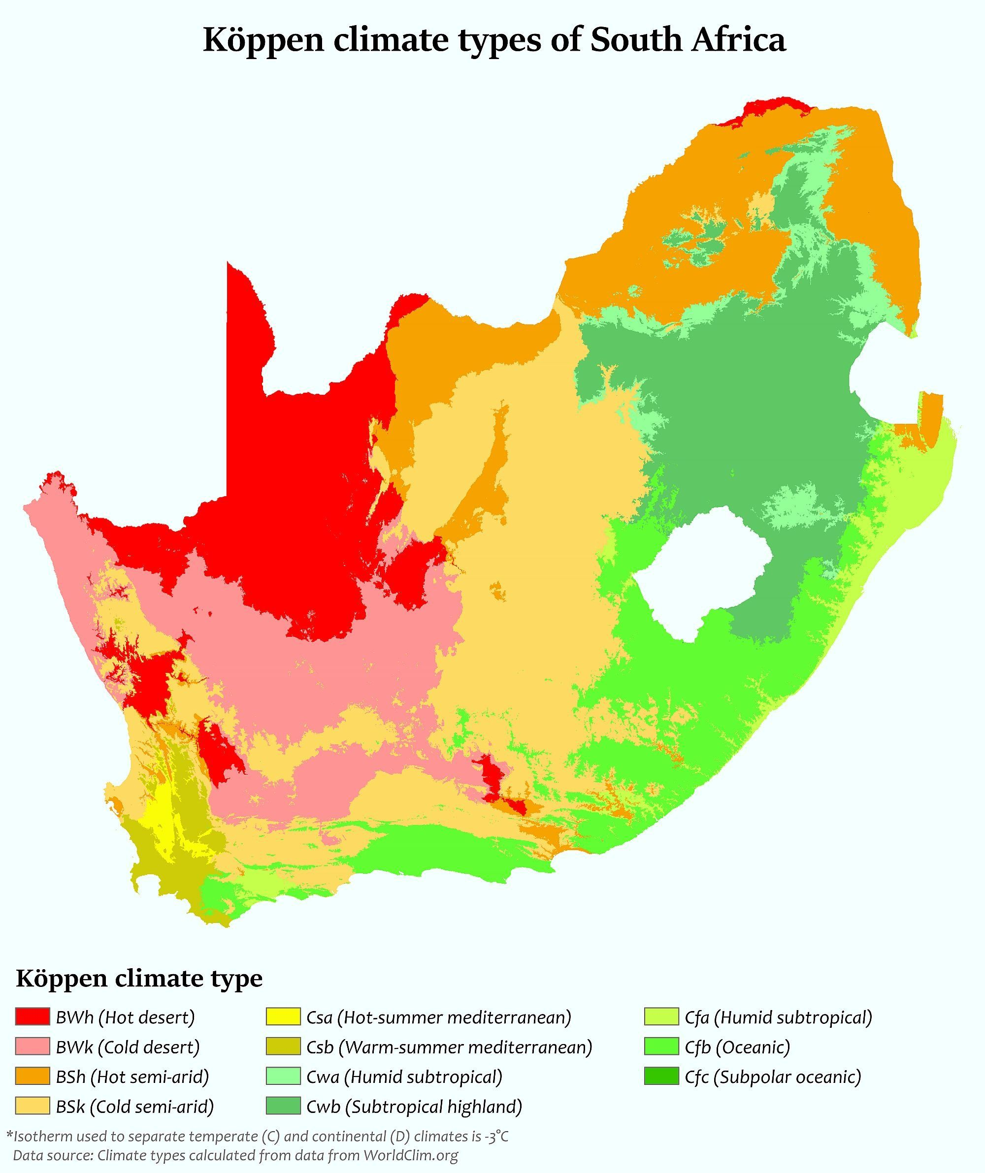 Map : Climate zones of South Africa | Infographic : Map | Map