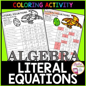 Writing Literal Equations Coloring Activity Math High School