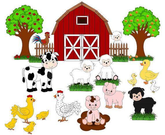 Farm Animals Farm Clip Art Cute Animals Barnfruit Trees Etsy Animal Crafts Preschool Farm Animals Farm Animal Birthday