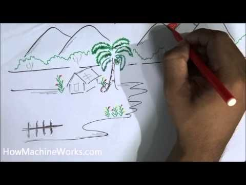 Village Nature Scenery Drawing Easy Tutorial For Kids Youtube Easy Drawings Nature Kids Drawings