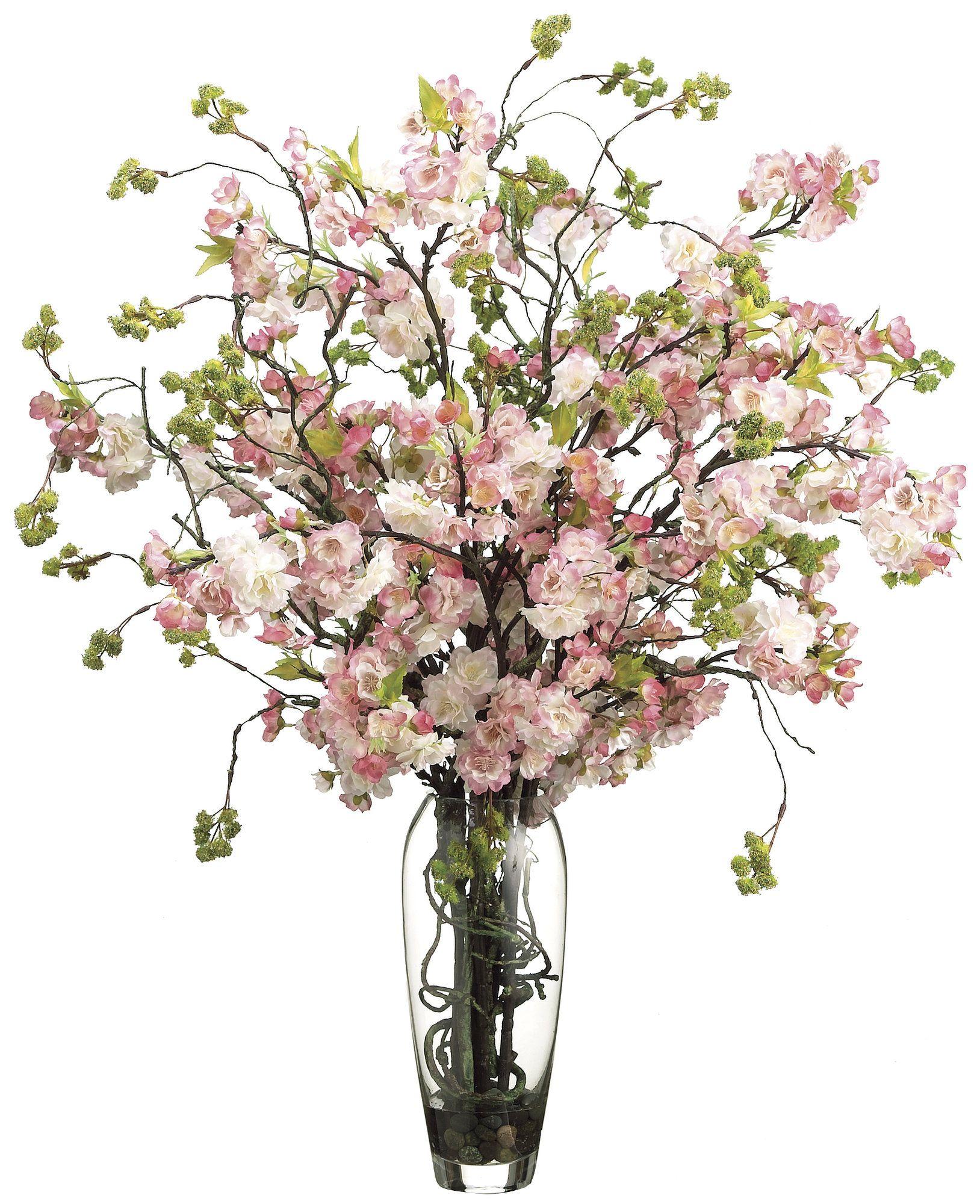 Cherry Blossom Floral Arrangement In Decorative Vase Cherry Blossom Vase Silk Flower Arrangements Flower Arrangements