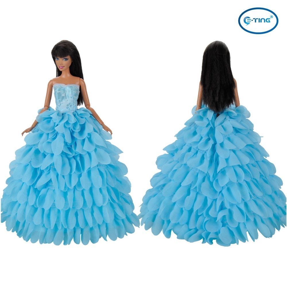 E-TING Handmade Dolls Clothes Blue Bride Wedding Dress Party Gown ...