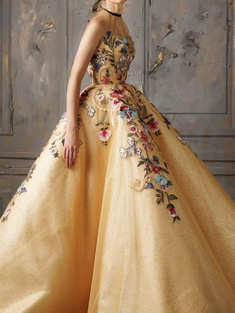 Chic ball gowns prom dresses high neck gold sparkly long prom dress