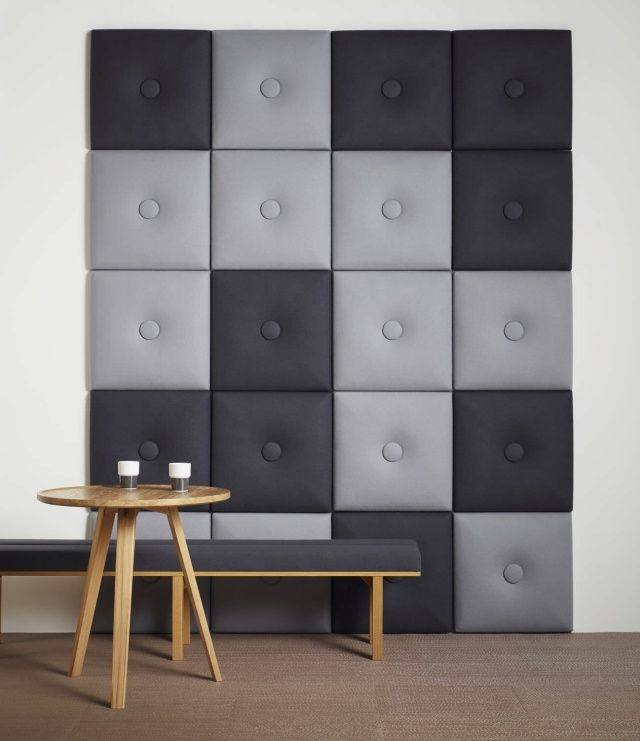 Wohnideen für Wände mit dekorativen Akustikplatten-weicher Stoff ...