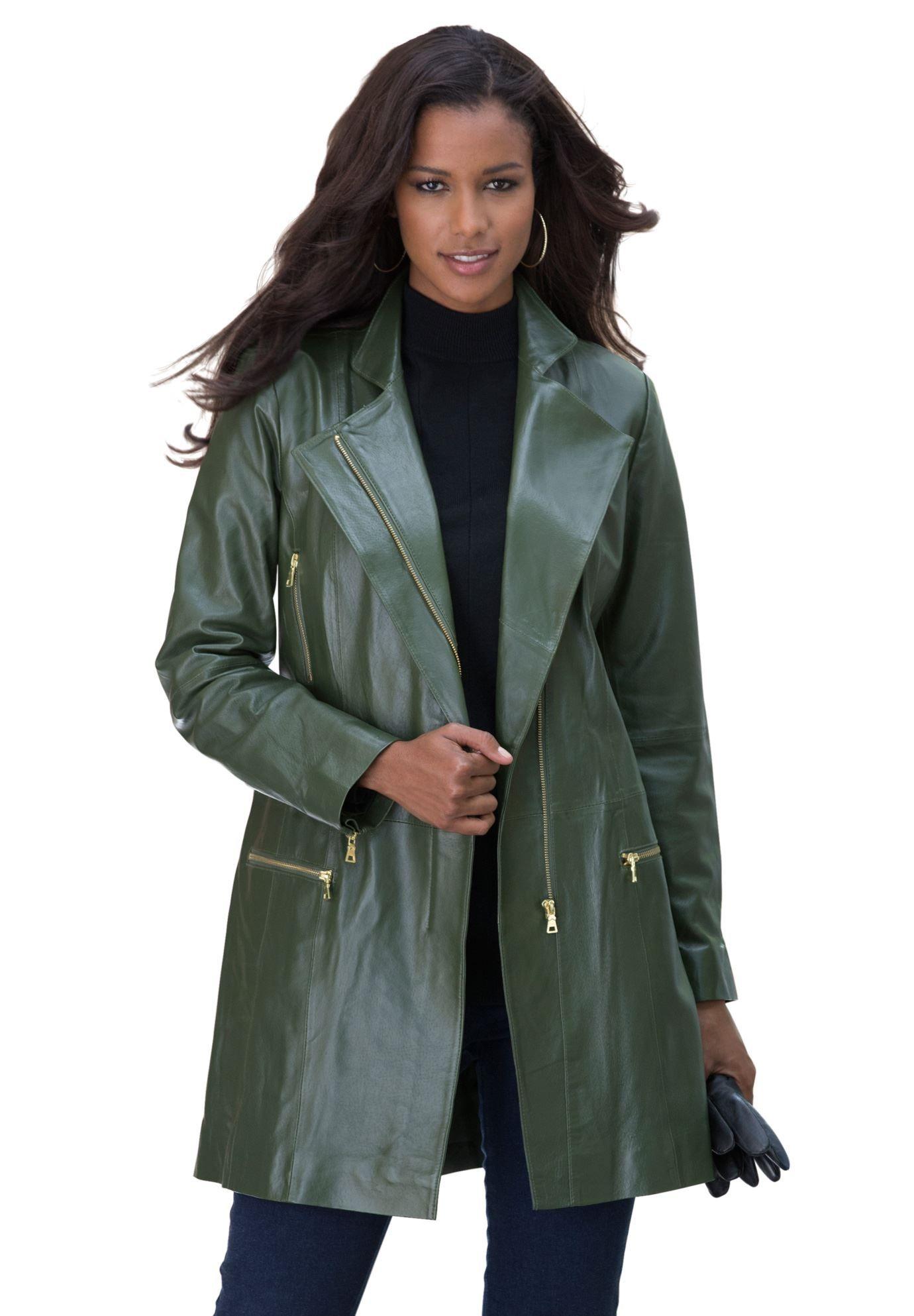 Long Leather Moto Coat | Plus Size Leather | Roamans
