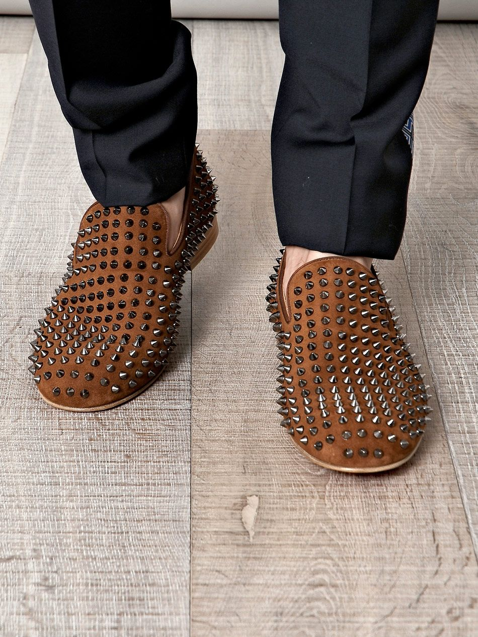 b4ddcdd045d4 Christian Louboutin brown rollerboy spike loafers