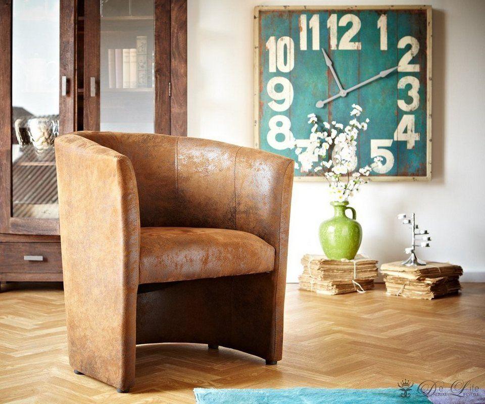 DELIFE Clubsessel Cazim Braun Gepolstert Antik Optik Living   Wohnzimmer Beige  Braun Schwarz