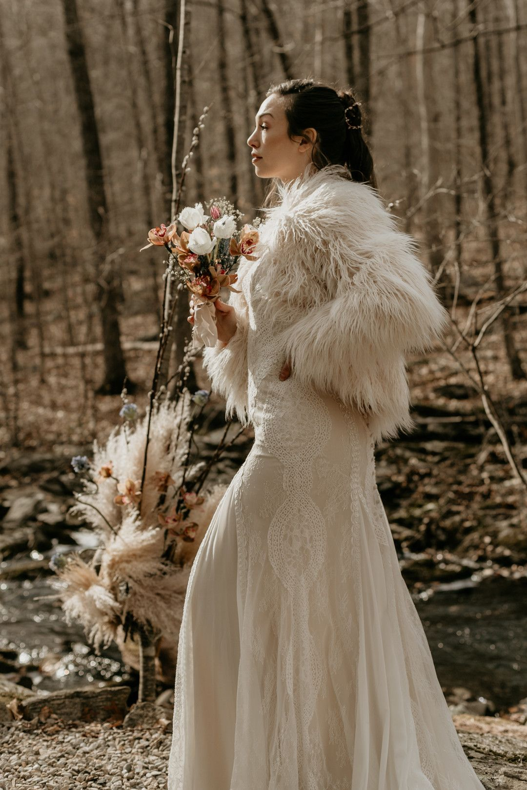Wedding Dress In Ct.Bohemian Elopement At A Water Forrest Retreat In Norwich Ct