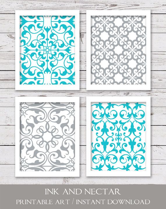 PRINTABLE Art, Printable Wall Art, Turquoise and Gray Art, Bedroom Art, INSTANT DOWNLOAD, Bathroom A is part of bedroom Art Printables -  300 dpi• 4 JPEG files• Due to differences in monitor settings, the colors on your screen may differ slightly from the printed art  DELIVERY• Files are available for instant download  (No physical items will be sent ) You will receive an email with a link to your product downloads once payment is complete  You may also access your downloads by viewing your Etsy Purchases page TERMS OF USE• For personal use only  Print as many times as you wish, but please do not resell or share files, or sell the printed art Thanks so much!