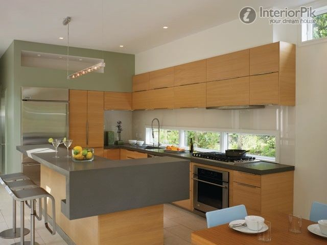 Modern American Style Open Kitchen Bar Design Pictures