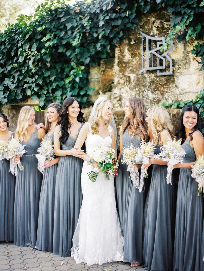 Romantic fall wedding among the redwoods grey bridesmaid for Bridesmaid dresses for fall wedding