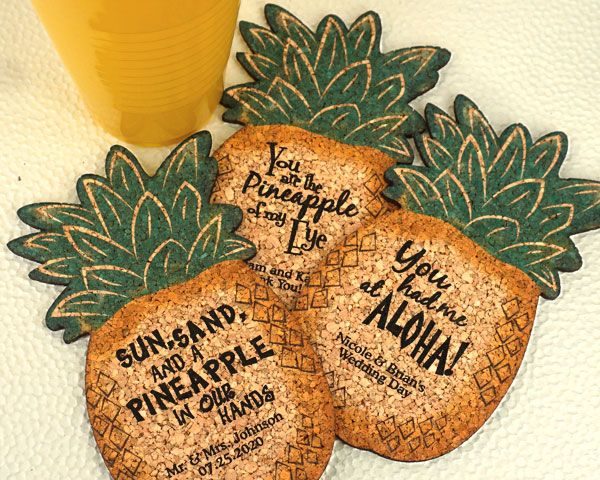 Hawaiian Wedding Gift Ideas: Personalized Pineapple Cork Coaster