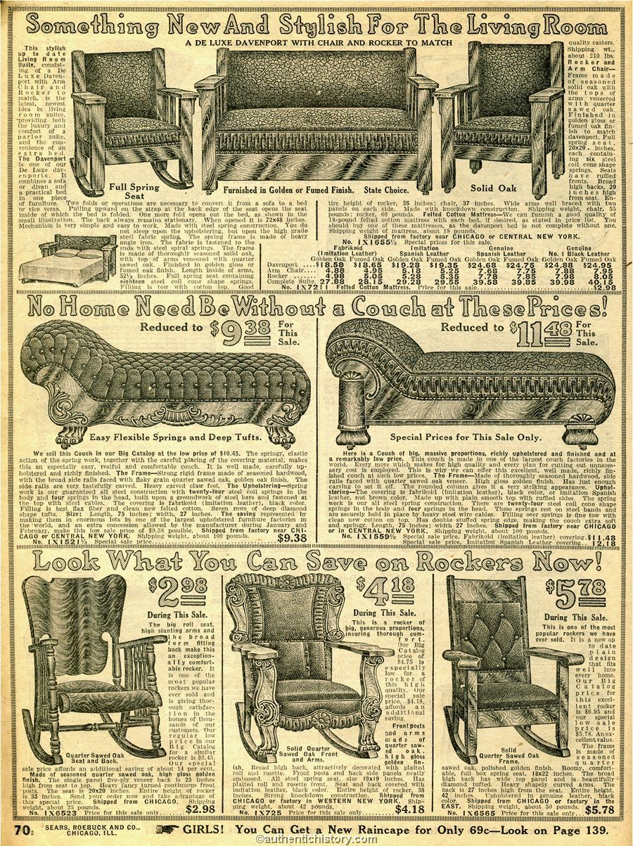 1914 Sears Household Catalog Fancy Living Room Furniture Early