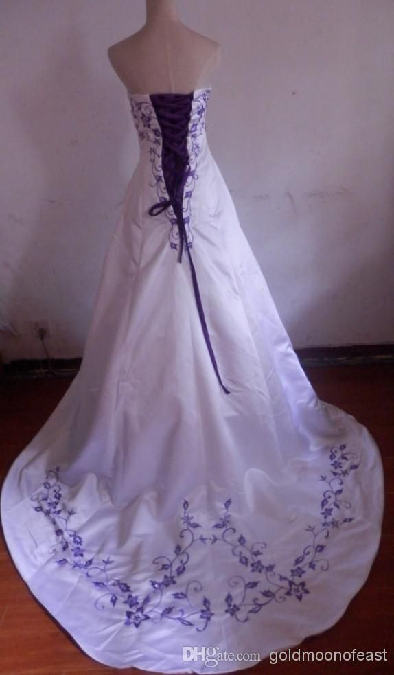 sexy strapless white satin with purple embroidery a line