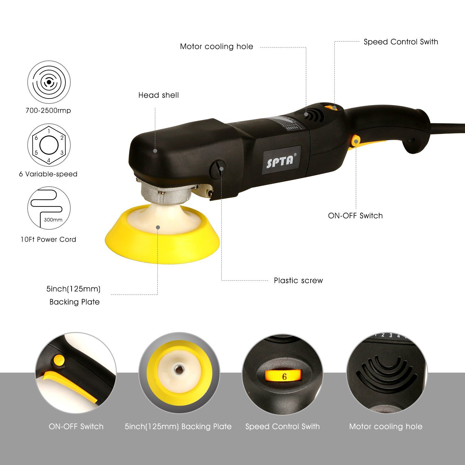 Spta 6inch 150mm Electric 6 Variable Speed Rotary Polisher Car