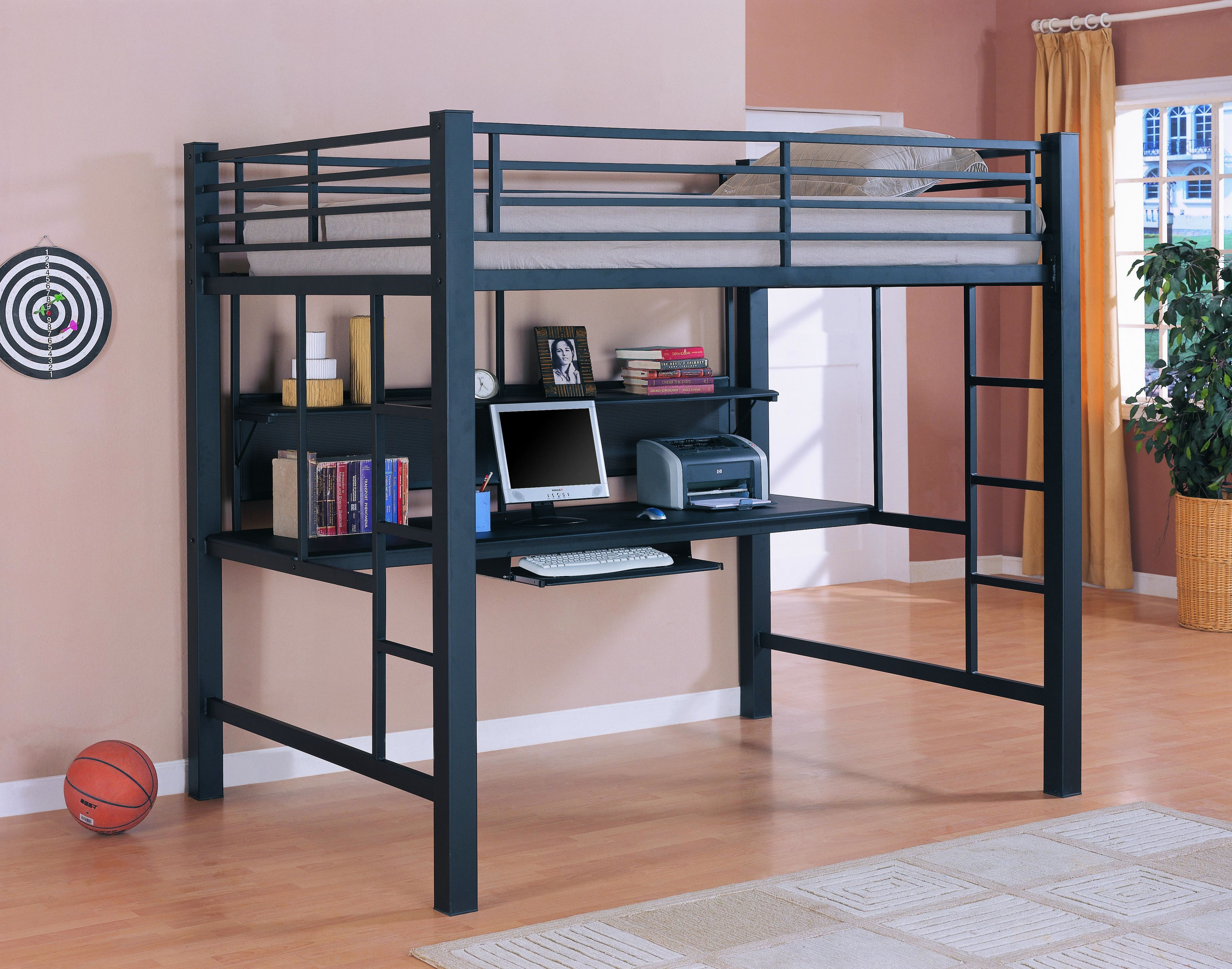 Metal loft bed with desk underneath  Loft Bed with Desk for Adults  French Style Living Room Set Check