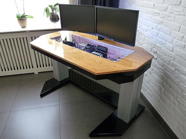 Adjustable Custom Computer Desk Mod Fit For A True Geek Custom Computer Desk Custom Computer Custom Pc Desk