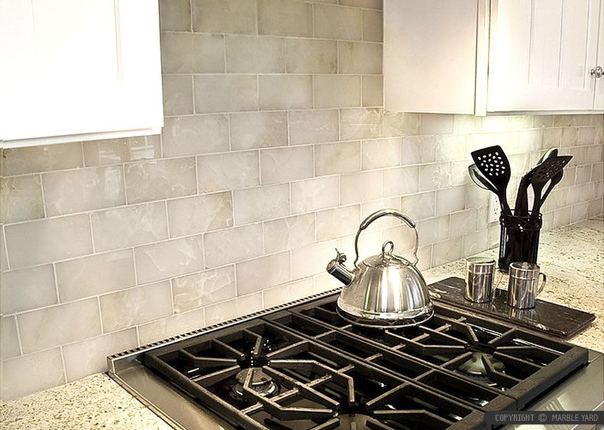 White onyx kitchen backsplash tile kashmire white