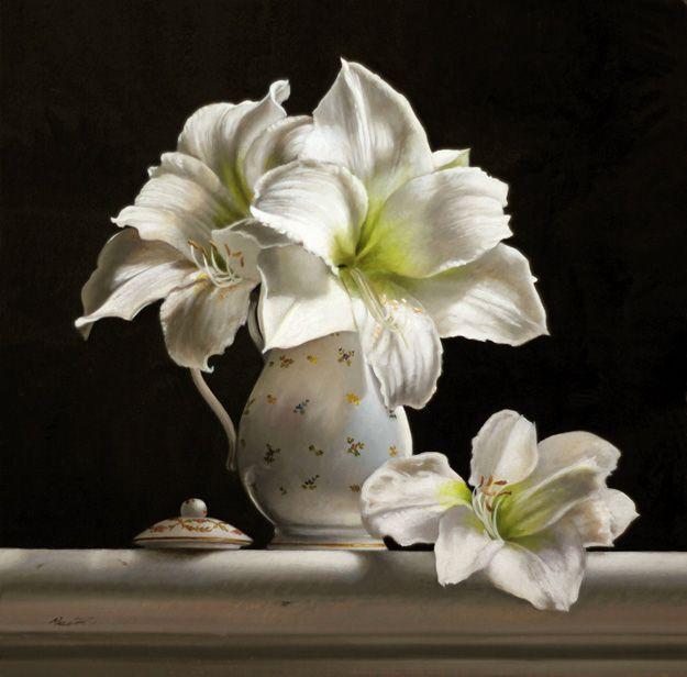 White Amaryllis Amaryllis Painting Flower Painting Flower Art