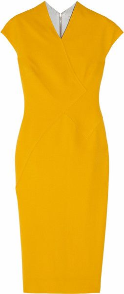 715f719bf14 Victoria Beckham dress: bright-yellow silk and wool-blend double-crepe,  small V-neck, cap sleeves, diagonal seams, pintucks.