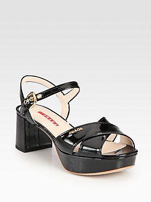 979ab148fdf Prada Patent Leather Crisscross Platform Sandals