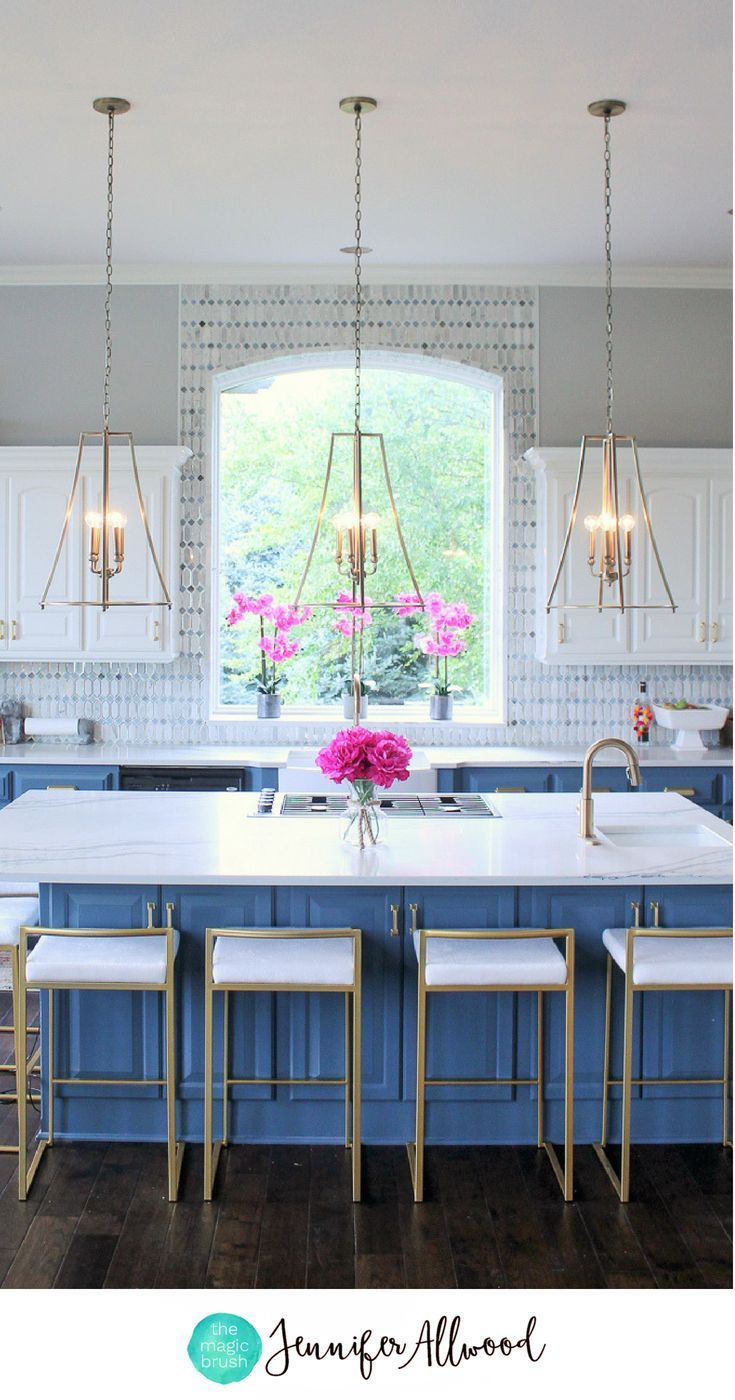 Küchenschränke blau gold kitchen lighting that has me totally obsessed in