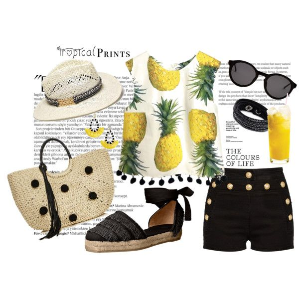 Pinapple juice by ulstblog on Polyvore featuring moda, Balmain, Castañer, Rebecca Minkoff, Swarovski, BaubleBar, Thierry Lasry and Avon