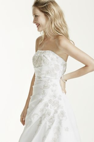 aline side drape strapless gown with beaded lace detail