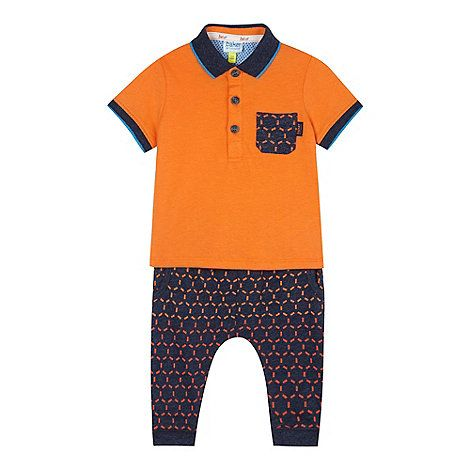 c9031b60ff48c2 Baker by Ted Baker Baby boys  orange polo top and hexagon jogging bottoms  set-