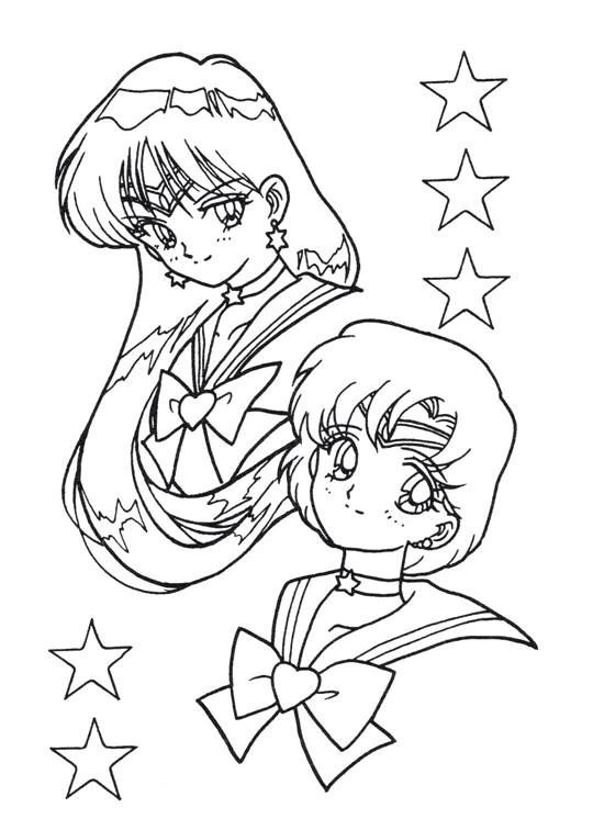 Sailor Moon Series Coloring Pages Sailor Mercury And Sailor Mars Coloring Pages