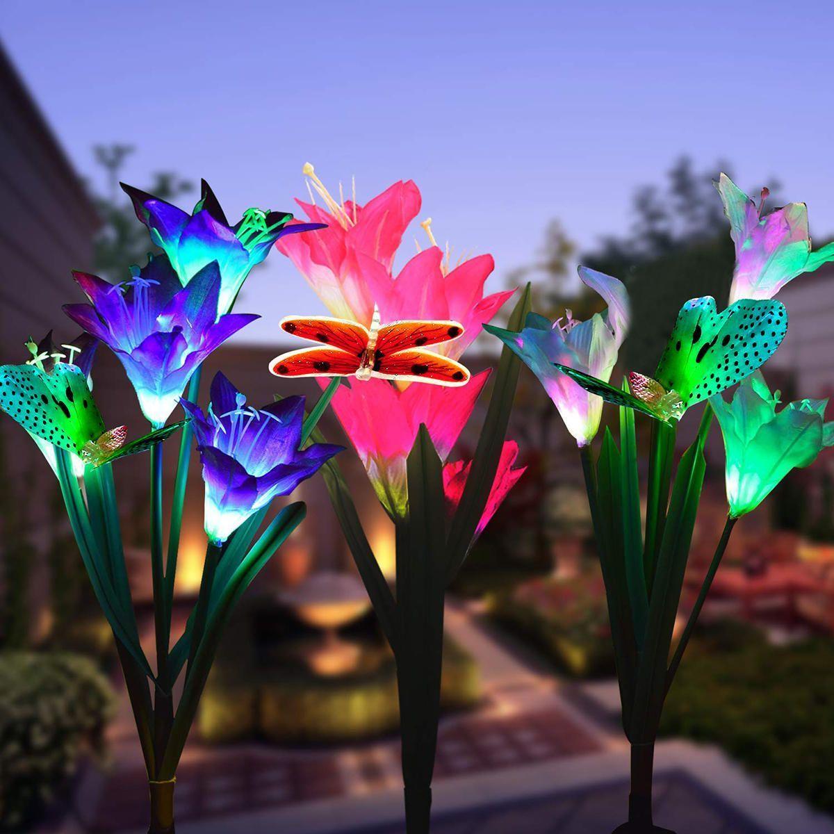 2 Teile Satz Wasserdichte Led Solar Stake Lilie Blume Licht Outdoor Garten Rasen Blume Gart In 2020 Solar Flower Flower Lights Solar Flower Lights