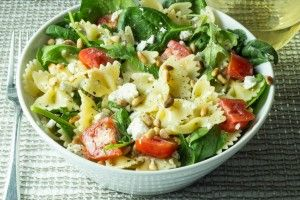 Farfelle Pasta with Fresh Spinach, Arugula, Tomatoes, Feta and Pinenuts