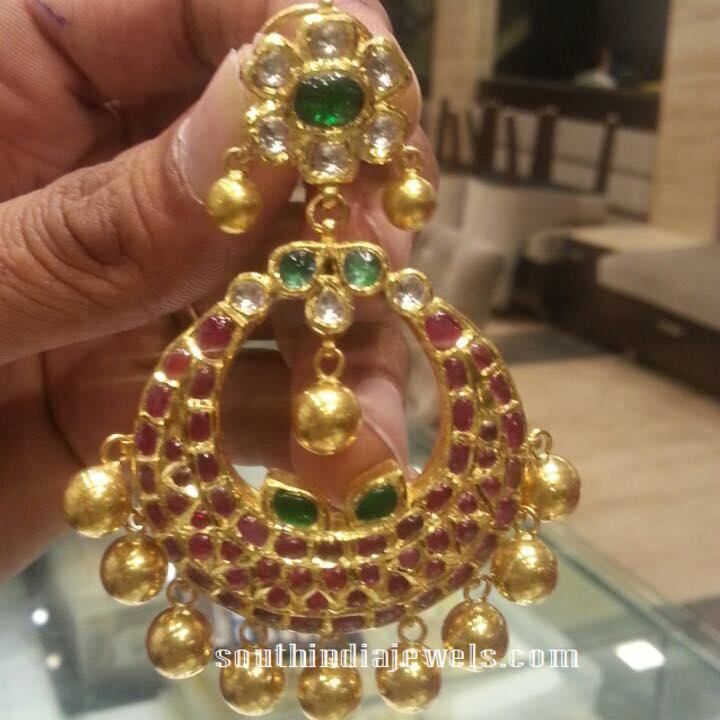 Gold Designer Ruby Chandbali | Designers, Ear rings and Emeralds