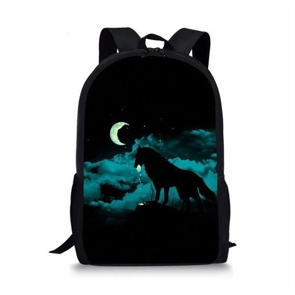6d4df8c73832 INSTANTARTS Galaxy Moon Wolf Printed Boys School Bags Casual Book Shoulder  Bags for Primary School Students