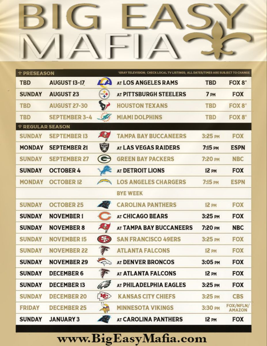 New Orleans Saints Schedule In 2020 New Orleans Saints Schedule Saints Schedule New Orleans Saints