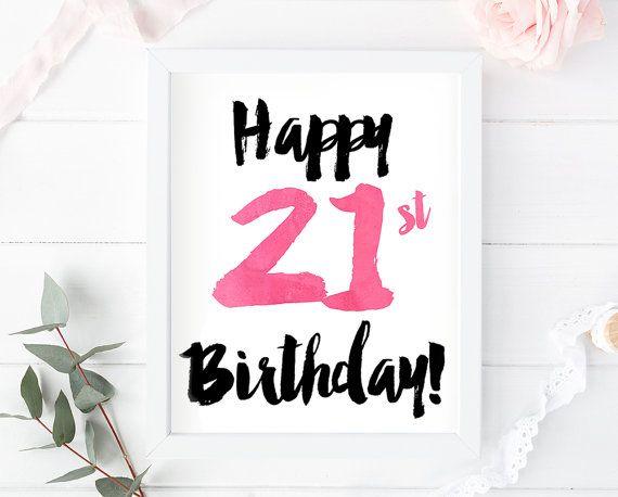 21st Birthday Print 21st Card 21st Birthday Sign 21st Etsy 16th Birthday Card Printed Birthday Birthday Sign