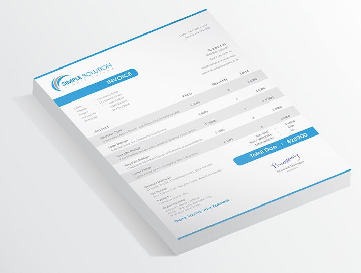 a4, a4 invoice, black, blue, clean, creative, customizable, excel - print an invoice